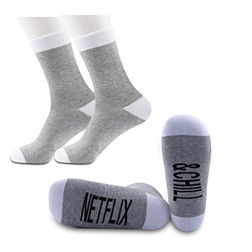 PYOUL 2 Paar Netflix Geschenke Netflix und Chill Lustige Socken Netflix und Chill Geschenk Muttertag Geschenk Valentinstag Socken Geschenk Gr. 38, Netflix & Chill