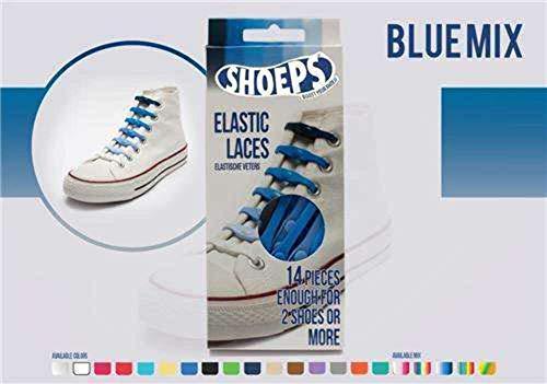 Shoeps Elastic Laces, 14 pieces - Mix Blue - Multi-Colour, Regular