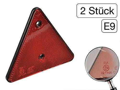 2 Stk Reflektor Rot Dreieck Anhänger Dreieckrückstrahler PVC Rückstrahler E9