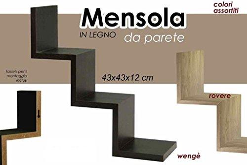 Gicos Import Export SRL - Estante de pared de madera a escala + kit de montaje 43 x 43 x 12 cm
