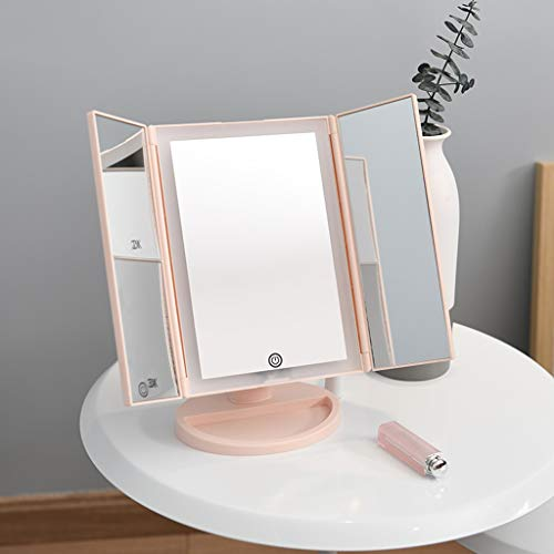 LICCC Espejo de Belleza LED for Escritorio, Lente de Relleno, Espejo Plegable, 18 * 28 cm (Color : Pink)