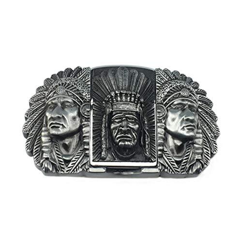 LYXPUZI Legierung Gürtelschnalle Indian Feuerzeug-Gürtelschnalle Persönlichkeit Retro Ethnic Hauptgürtelschnalle (Color : Silver, Size : 1.5in)