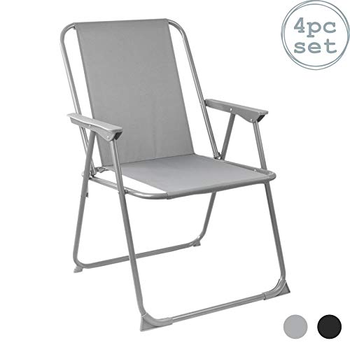 Harbour Housewares Folding Metal Beach Garden Camping Armchair - Grey - Pack of 4