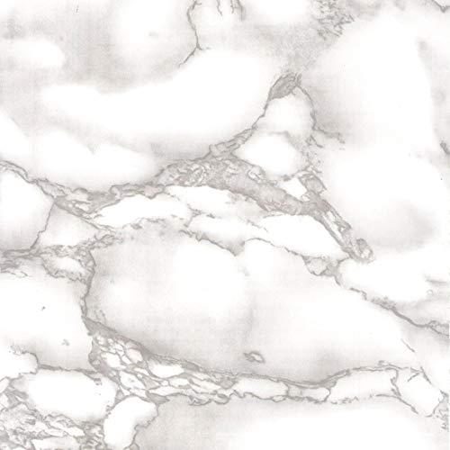 Venilia Klebefolie Marmor grau Dekofolie, Möbelfolie, Tapete, selbstklebende Folie, PVC, ohne Phthalate, weiß, 45cm x 1,5m, Stärke 0,095mm, 53421