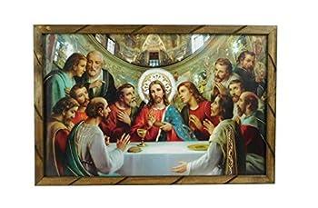 36 x24  Cuadro La Ultima Cena Vaticano Marco de Madera Rustico para Colgar 2436R Hecho En Mexico