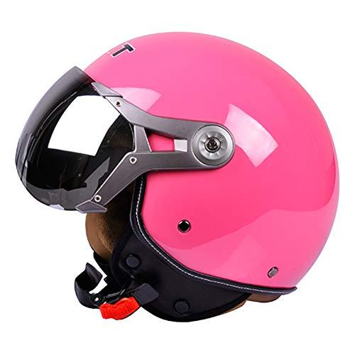 Wwtoukui Pinker Harley-Motorradhelm,Erwachsene Retro-Lokomotive Elektroauto Ski Anti-Glare-Brille halben Helm,DOT ECE zertifizierter Helm, Vier Jahreszeiten Unisex,L