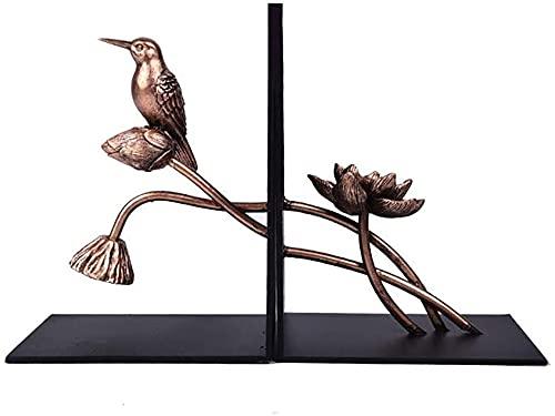 LQ Boek eindigt vogel en lotus booking metalen boek eindigt ondersteunt voor zware boeken Home Decor voor kantoor Home 5.1 × 3.9 × 7inch, 1pair / 2 stuk stopboek map