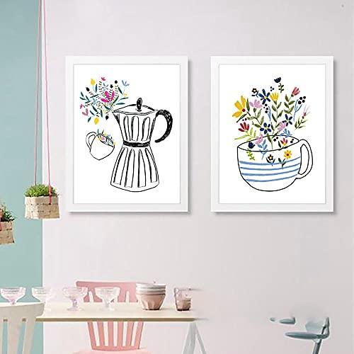 Ekspres do kawy i filiżanka do kawy płótno malarstwo dekoracja ścienna do kuchni ręcznie rysunek drukuje plakaty skandynawskie dekoracje-42x60cmx2 nie oprawione
