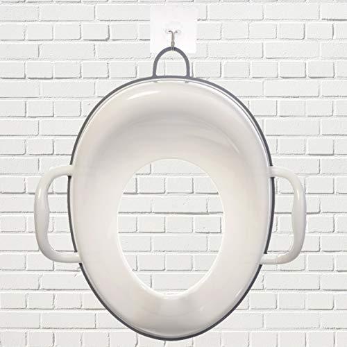 Bisoo - Adaptador WC Niños - Reductor Vater Bebé - Asiento Inodoro Seguro y Cómodo - Transición del orinal infantil al baño adulto - Compacto y Portátil - Incluye gancho (gris)