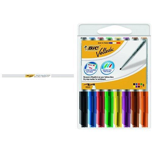 BIC Velleda - Rollo adhesivo, 1 m x 2 m + Pack de 8 rotuladores, multicolor
