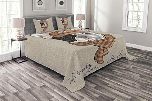 Lunarable Vintage Bedspread, Funny Hipster French Bulldog with Cap and Lines Scarf Punk Animal Humor Art, Decorative Quilted 3 Piece Coverlet Set with 2 Pillow Shams, Queen Size, Brown Ecru
