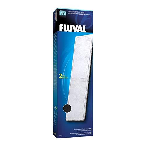 Fluval Polyester-Aktivkohle Filtereinsatz, Polyester für feine Schmutzpartikel, Aktivkohle für schädliche Flüssigkeiten/Verfärbungen/Gerüche, für den Fluval Innenfilter U4, 2er Pack