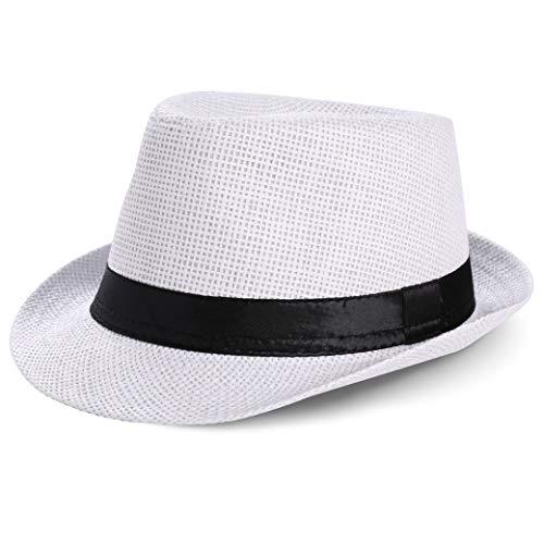 Coucoland Panama Chapeau d été pour Homme Fedora Trilby Bogart en Paille de Papier, Chapeau de Plage, Chapeau de Printemps été Gatsby (Taille Unique) (Blanc)