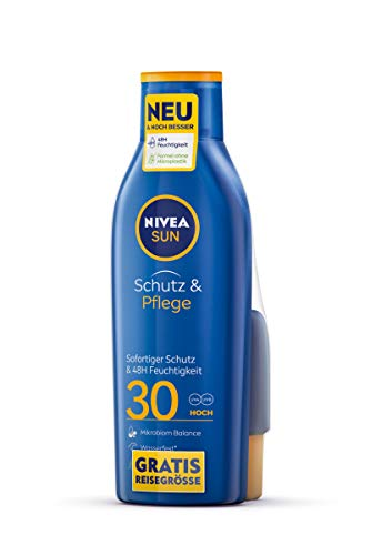 NIVEA SUN Schutz & Pflege Sonnenmilch LSF 30 + gratis Reisegröße (250 ml + 50 ml), pflegender Sonnenschutz für 48h Feuchtigkeit, sofort wirksame Sonnencreme