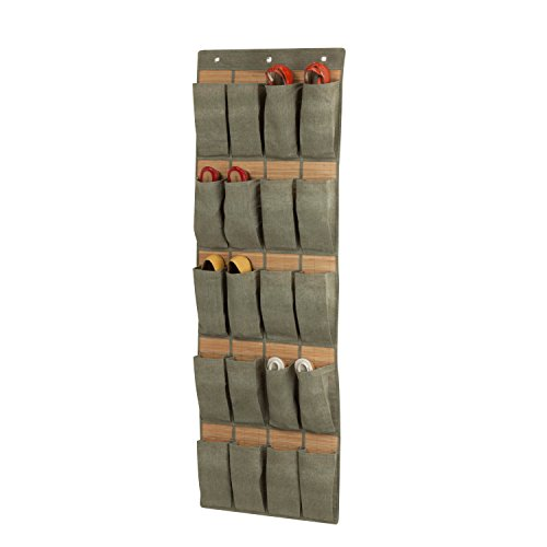 Honey-Can-Do SFT-03044 20-Pocket Over The Door Organizer, 57 by 9 by 0.5-Inch, Bamboo-Moss
