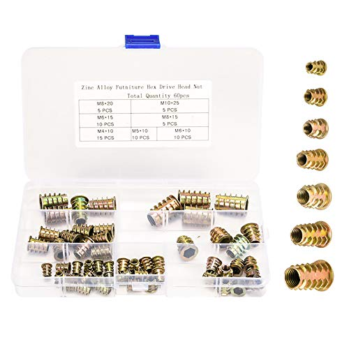60 Stk Holz Gewindeeinsatz muttern sortiert M4 M5 M6 M8 M10 Innensechskantmuttern Kits für Holzmöbel, Zinklegierung