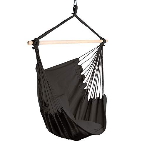 JyNN Hermeias , poltrona sospesa con sospensione a soffitto di alta qualità e pratica borsa per il trasporto, XXL, in 4 varianti di colore e portata fino a 120 kg, per interni ed esterni (nero)