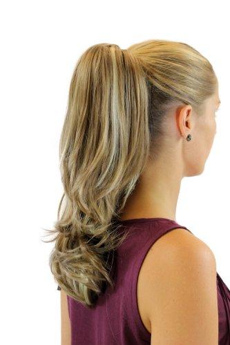 WIG ME UP ® - XF-6175-18H613 Extensión de pelo/coleta lisa con puntas onduladas media larga (40 cm) clip tipo mariposa mezcla rubia