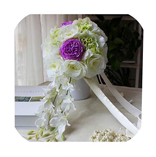 N/A Wasserfall Hochzeit Blumen Brautstrauß Künstliche Hochzeit Bouquets De Mariage Rose Pink Pfingstrose Lila Pfingstrose Elfenbein Rose, violett, Einheitsgröße
