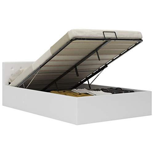 vidaXL Cama Canapé Hidráulica Cuero Sintético Mobiliario Casa Decoración Interior Resistente Robusta Duradera Práctica Cómoda Útil Blanco 140x200cm