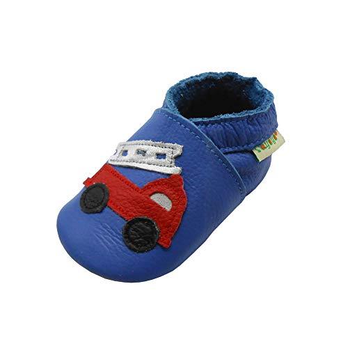 SAYOYO Baufahrzeuge WeichesLeder Lauflernschuhe Krabbelschuhe Babyschuhe(12-18 Monate,Blau)