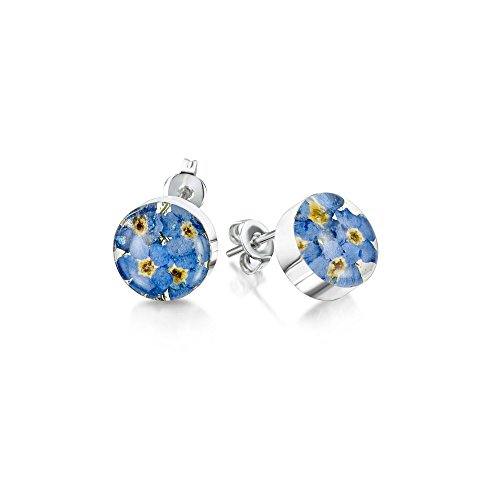 Stud earrings with real Forget-me-nots by Shrieking Violet. Sterling silver round stud earrings made with real flowers. Thoughtful jewellery gift