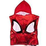 Spiderman Marvel - Asciugamano poncho con cappuccio, 100% cotone, perfetto per il bagno e la spiaggia sul davanti e sul retro Rosso B Taglia Unica