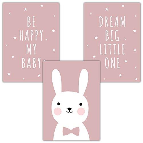 Frechdax® 3er Set Kinderzimmer Poster Babyzimmer DIN A4 ohne Bilderrahmen | Mädchen Junge | Kinderposter Kunstdruck im skandinavischen Stil | schwarz/Weiss oder bunt | (Set-25)