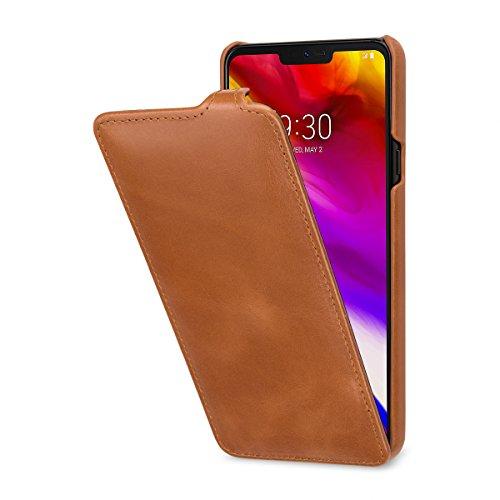 StilGut UltraSlim Lederhülle für LG G7 ThinQ. Dünnes Flip-Hülle vertikal klappbar aus Echtleder, Cognac