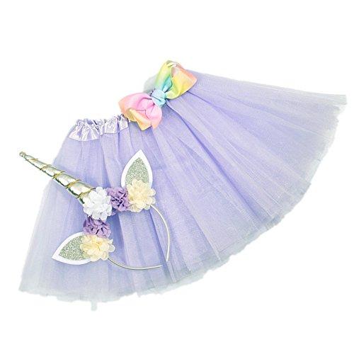 Nishine Tutu Skirt Dress + Unicorn Horn Headband Set Kids Birthday Photo Props Outfit (Lavender)