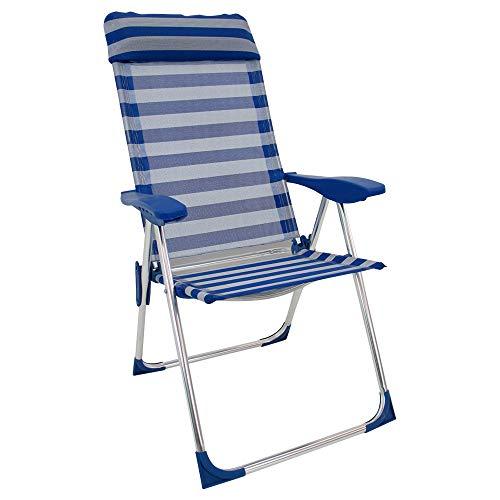 LOLAhome Silla Plegable con cojín para la Playa 5 Posiciones (Azul y Blanco)