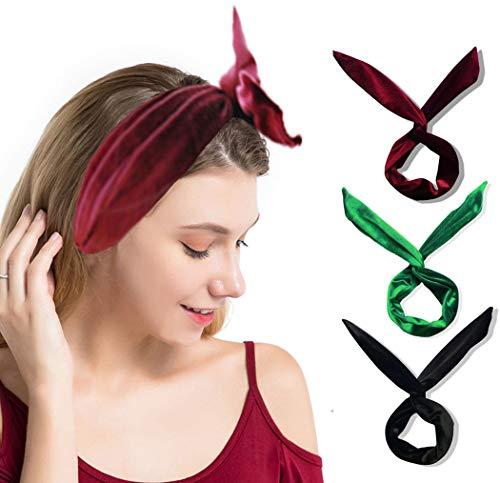 IYOU Fashion Bow Hoofdbanden Bowknot Haarbanden Zwarte Hoofdband Velvet Sport Yoga Hoofddeksels voor Vrouwen en Meisjes (pak van 3)