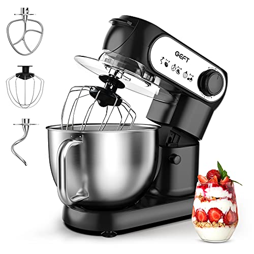 GEFT Stand Mixer-5.5-liter 6-Speed Kitchen Mixer with 600W Powerful Motor, Electric Food Mixer with Stainless Steel Mixing Bowl & Splash Guard, Dough Hook, Mixing Beater, Wire Whisk, Tilt-Head