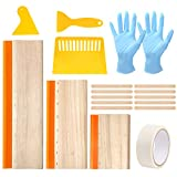 Aoibrloy 19Pcs Screen Printing Squeegee kit with 3pcs 75 Durometer Wooden Ink Scraper(13.7, 9.4, 5.9inch), 3pcs Plastic Printing Squeegee, 1pcs Masking Tape, 2pair Gloves, 10pcs Wood Mixing Sticks