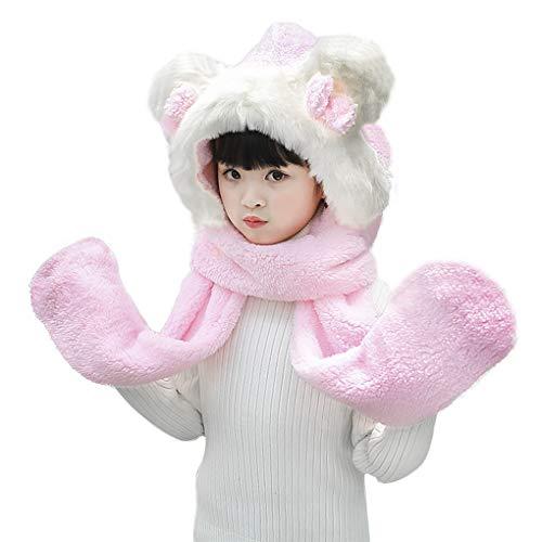 Kids Teens Girls 3 in 1 Warm Plush Fluffy Cartoon Winter Hats Scarf Mitten Gloves with Pockets Hoodie Cap Earmuff Costume (Bowknot Fur, Pink)