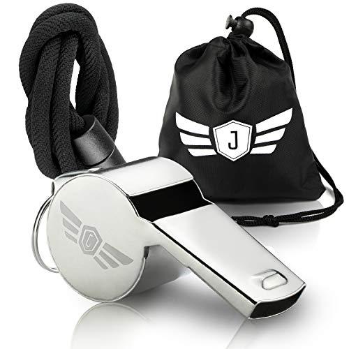 Premium Trillerpfeife Edelstahl - Einzigartig laut, dank innovativer PP-Kugel - Profi Pfeife Sport mit Klickverschluss & Tasche - ideal für Fussball, Sportunterricht, Schiedsrichter, Trainer, Lehrer