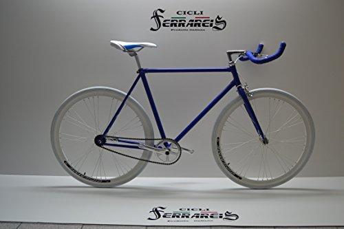 Cicli Ferrareis Fixed Bike Single Speed Bici Scatto Fisso Bianco e Blu Personalizzabile
