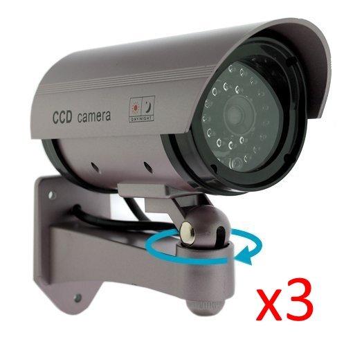 Kabalo 3 x Réaliste Caméra Factice sans Fil, Faux réaliste caméra Factice de sécurité CCTV LED Rouge Clignotante intérieure extérieure Argent