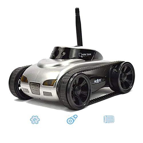 AAAHHH RC Car WiFi Tank Car Video 0.3MP Cámara WiFi Control Remoto por Android Robot con Cámara 4CH App, Plateado,B