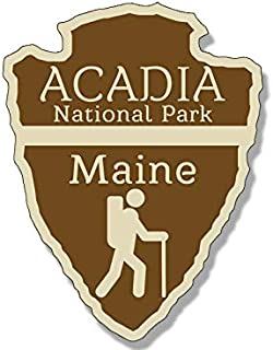 MAGNET 3x4 inch Arrowhead Shaped ACADIA National Park Sticker - rv hiking camping maine Magnetic vinyl bumper sticker sticks to any metal fridge, car, signs