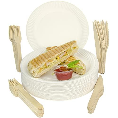 ECOCLEO® Eco kit stoviglie usa e getta | 300 pezzi | 100 piatti + 100 forchetta legno + 100 coltello legno | Set monouso Ideale per barbecue, compleanni e feste