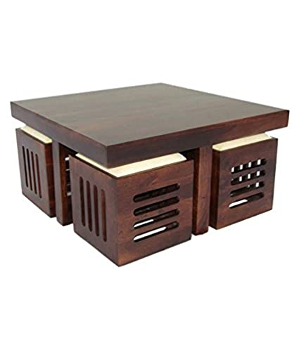 Aprodz Solid Wood 4 Seater Coffee Table Stool Set For Home Dark Walnut Amazon In Home Kitchen