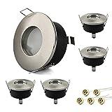 KYOTECH Set de 5 marcos de montaje para focos GU10 LED empotrables, protección IP65, Para baño sala de estar cocina dormitorio