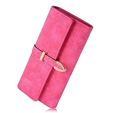 Fineway Women's Long Grid Buckle Leather Handbag Card Holder Purse Wallet Rosed
