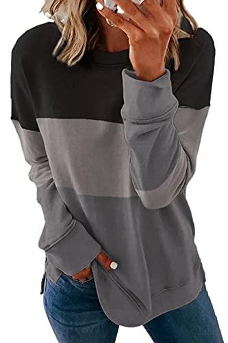 SMENG womens fall fashion crew neck striped long sleeve comfort colors sweatshirts women casual crewneck sweatshirts teen girls lightning deals womans clothing top black M