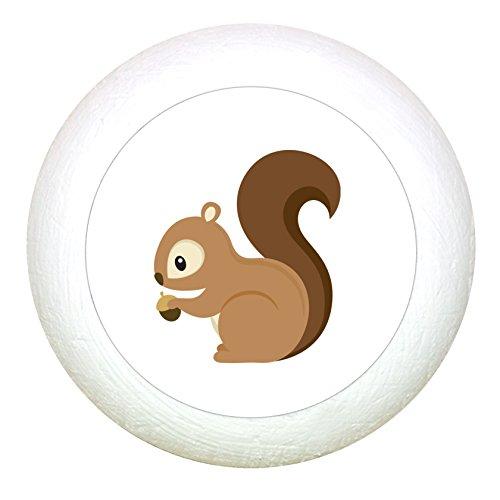 Möbelknauf Eichhörnchen weiss Holz Kinder Kinderzimmer 1 Stück Waldtiere