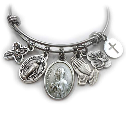 St. Monica Bangle Bracelet, Patron Saint Confirmation, Catholic Jewelry Gift