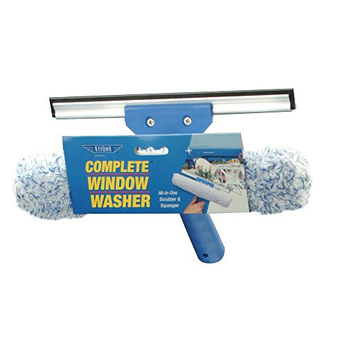 Ettore Complete Window Cleaner 2 in 1 Combo Tool: 10-inch Squeegee and Washer