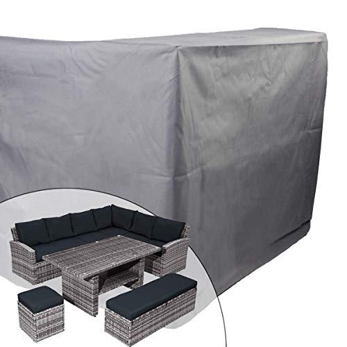 BRAST Poly-Rattan Sitzgarnitur Gartenmöbel Essgruppe Lounge Sitzgruppe ECO Abdeckhaube/Dunkelgrau
