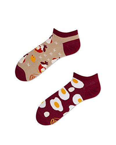Many Mornings Verrückte Sneaker Socken - Fun Socks - Damen - Egg und Chicken - Hühner und Ei (35-38)